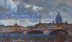 Veniamin Borisov.  Flood in Leningrad. Oil on canvas, 38х55. 1989