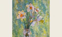 Veniamin Borisov. Flowers. Oil on canvas,57х34. 2001