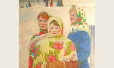 Veniamin Borisov.  Girl-Friends. Oil on canvas,89,5х80. 1990