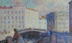 Veniamin Borisov. Moyka River Embankment  in Leningrad. Oil on canvas, 50х70. 1992