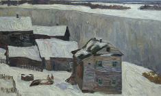 Veniamin Borisov. Nothern Village. Oil on cardboard, 50х70. 1978