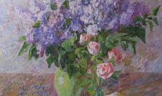 Veniamin Borisov. Still-life with Lilac.  Oil on canvas, 70х60. 1992