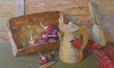 Veniamin Borisov.   Still-life with Radish. Oil on canvas, 70х90. 1991