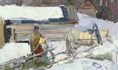 Zlata Byzova. Winter in the Old Ladoga. Oil on cardboard, 33х47,5.1961