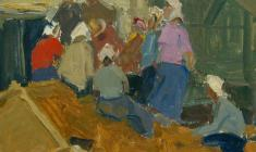 Zlata Byzova. On the threshing floor. Oil on cardboard, 21,5х24,3. 1959
