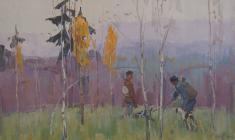 Zlata Byzova. Froggy Morning. Oil on canvas, 37х57. 1964