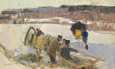Zlata Byzova. Winter at the Vikhov River. Oil on cardboard, 33,5х48. 1961