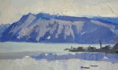Аnatoliy Vasiliev. Baykal near Sokhurty. Oil on cardboard, 9,8х17. 1963