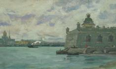 Аnatoliy Vasiliev. A Grey Day on the Neva. Oil on canvas, 22х42,5. 1953
