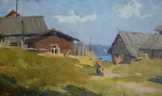 Аnatoliy Vasiliev. Khokhlovka Village on Kama. Oil on cardboard,20,5х31,5. 1953