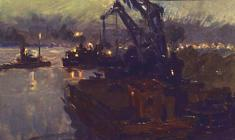 Аnatoliy Vasiliev. The Port on the Kama. Oil on cardboard, 10х16,5. 1953