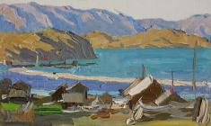 Аnatoliy Vasiliev. Village Sokhurty. Oil on cardboard,10х17. 1963