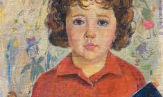 Valery Vatenin. Portrait of Daughter.  Oil on canvas, 55х40. 1965
