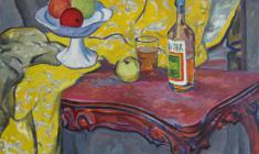 Rostislav Vovkushevsky. Still-life with Yellow Material. Oil on canvas, 80,5х95,5. 1981