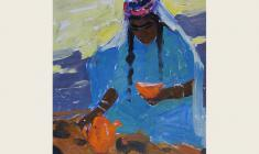 Irina Getmanskaya. Tea-drinking. Samarkand. Oil on cardboard, 40х33. 1961