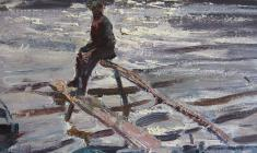 Василий Голубев. At the Volkhov River. Oil on cardboard, 40х49,5. 1966