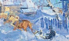 Vasily Golubev. Horses. Oil on cardboard, 60х49,5. 1962