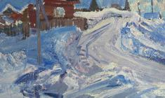 Vasily Golubev. Sunny Day. Oil on cardboard, 48[59. 1960