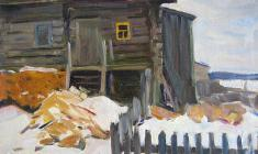 Abram Grushko. At the Porch. Oil on cardboard, 24х34,5. 1978