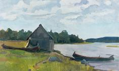 Abram Grushko. Country Bath-house. Oil on cardboard, 29,3х42. 1959