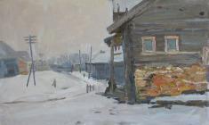 Abram Grushko. Gloomy Day. Oil on cardboard, 33,2х48,2. 1966