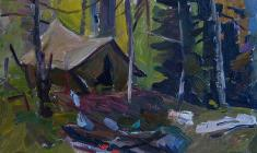 Abram Grushko. Tent in the Wood. Oil on cardboard, 24,2х33,5.,1965