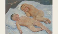 Irina Dobryakova. Sleeping. Oil on canvas, 56х70. 1957