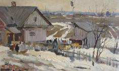 Alexey Eriomin. Thaw. Oil on cardboard, 29х39. 1960
