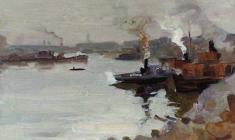 Eugeny Zhukov. Volga near Stalingrad.Oil on cardboard,16,2х24,7. 1956