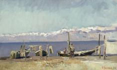 Vyacheslav Zagonek. Fishermen of Issyk-Kul Lake. Oil on canvas, 31,5х53. 1954