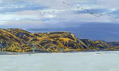 Vyacheslav Zagonek. Yenisey River.  Oil on cardboard, 27,5х69,7. 1971