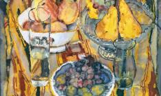 Sergei Zakharov. Still-life with Pears. Watecolor on paper, 44х50. 1986