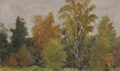 Ruben Zakharian. Trees.  Oil on canvas,12,5х18,5. 1958