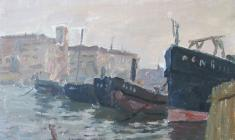 Ruben Zakharian. Barges near the Shore. Oil on cardboard,26х33. 1948