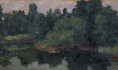 Ruben Zakharian. Green Shore. Oil on cardboard, 11х19,7. 1958