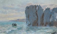 Ruben Zakharian. Gurzuf Cliffs. Oil on cardboard,18х31. 1953
