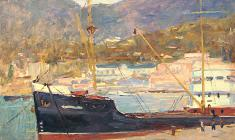 Ruben Zakharian. In the Seaport. Oil on cardboard, 31х40. 1953