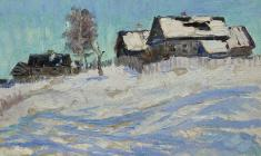 Ruben Zakharian. Blue Shadowes. Oil on cardboard, 18,5х31. 1959