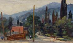 Ruben Zakharian. Little Street in Gurzuf.  Oil on canvas,14,3х32,8. 1953