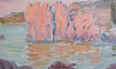 Ruben Zakharian. Scarlet and Turquoise. Oil on cardboard,14,8х34,4. 1953