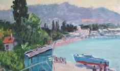 Ruben Zakharian. A Seashore in Gurzuf. Oil on cardboard, 24,5х33,2. 1956