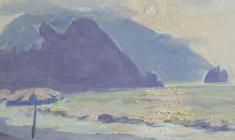 Ruben Zakharian. Silhouettes of Gurzuf. Oil on cardboard,15,7х34,5. 1958