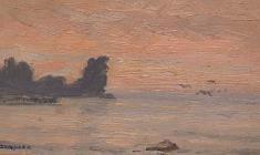 Ruben Zakharian. Sunrize in Gurzuf. Oil on cardboard,11,3х22. 1953