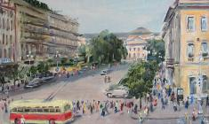 Ruben Zakharian. Nevsky Prospect. View at the Nevsky Prospect.  Oil on canvas, 28,5х40. 1949