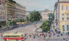 Ruben Zakharian. Nevsky Prospect. View at the Nevsky Prospect.  Oil on canvas, 28,5х40. 1949