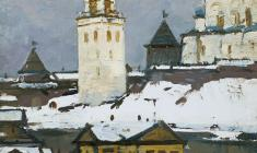 Mikhail Kaneyev. Ancient Pskov. Oil on cardboard, 25,5х25,5. 1979
