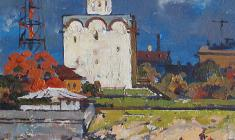 Mikhail Kaneyev. Ancient Novgorod. Oil on cardboard, 25,7х25,4. 1979