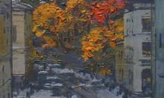 Mikhail Kaneyev. Sadovaya Street in Leningrad. Oil on cardboard, 25,5х22. 1981