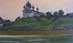 Mikhail Kaneyev. Summer Evening. Oil on cardboard,32,7х49,8. 1970