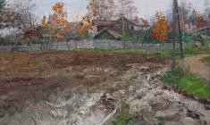 Mikhail Kozell. Autumn in the Pargolovo. Oil on canvas, 26х40,5.,1969